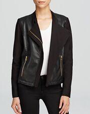 Karen Kane 3L47549 Black Vegan Leather Contrast Jacket - MSRP $238