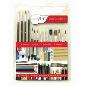 Work Of Art 15 Paint Brushes - Pack Paintbrushes Artist Set Brush Professional