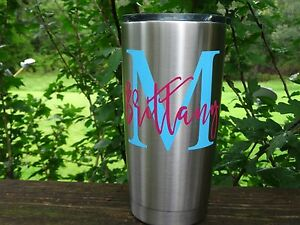 Custom Monogram Name Vinyl Decal for Stainless Tumblers, Coffee Travel Cups