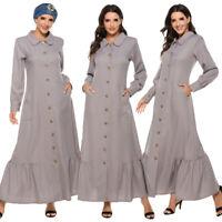 Women Long Sleeve Buttons Abaya Ruffle Maxi Dress Party Gown Jilbab Kaftan Robe