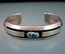 SHERRY SANDOVAL Navajo Indian 925 Sterling Silver Turquoise Shadowbox Bracelet