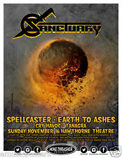 SANCTUARTY /SPELLCASTER/EARTH TO ASHES/TANAGRA 2014 PORTLAND CONCERT TOUR POSTER
