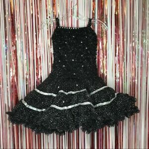 Black + Silver Dance costume tutu dress rhinestone Metallic Dots Medium Adult MA