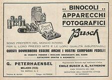 Z0830 Binocoli e Apparecchi Fotografici BUSCH - Pubblicità del 1929 - Advertis.