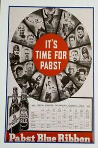 1935 Pabst Blue Ribbon Beer NFL Poster - Don Hutson - Nagurski - Engerbretsen