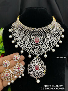 Indian Bollywood Style Fashion CZ AD Gold Plated Jewelry Big Choker Necklace Set