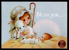 Vintage By Davey Baby Jesus Lambs Shepherd - Embossed- Christmas Greeting Card
