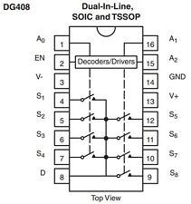 100 Vishay DG408DJ low impedance analogue switch DG408