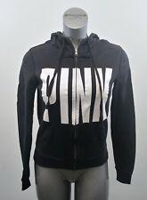 Pink Victoria's Secret Hoodie Women's Medium Long Sleeve Black Full Zip Jacket