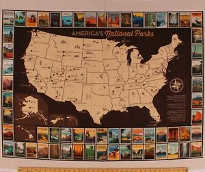 """36.5"""" X 44"""" Panel America's National Parks Map Postcards Cotton Fabric D472.42"""