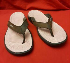 Crocs Capri Flip Flops Sandals Brown Leather Strap Pink Footbed Women Size 8