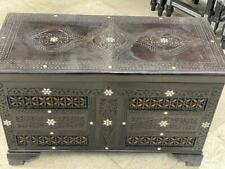 """Antique Carving wood Jewelry box Inlaid Shell (28.4""""x13.2"""")"""