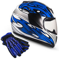 Blue Kids Motorcycle Full Face Helmet Child DOT Gloves Youth Combo