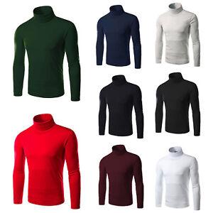 Mens High Turtle Neck Long Sleeve Sweatshirt Pullover Jumper T-Shirt Winter Tops
