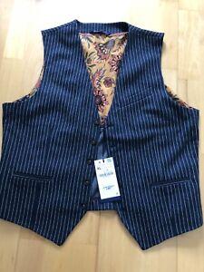 super Zara Weste Anzug blau gestreift Gr. XL Neu mit Etikett