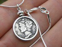 Necklace Pendant Vintage silver Mercury dime coin VARIOUS dates chains 18 inch