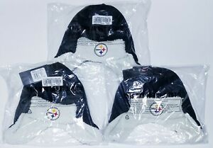 3 Lot Pittsburgh Steelers Breck OTS Sherpa Hunter Knit Cap Hat Beanie One Size