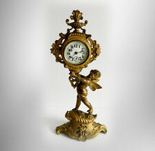 Cast metal clock with cherub - gold gilt finish - circa 1894 = Free Shipping