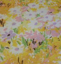 Sheet JC Penney Vintage - FLAT Muslin - Purple Orange Yellow Floral Mod - FULL