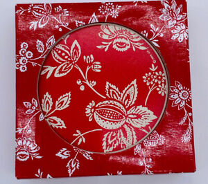 Red and White Floral Coasters - Hallmark - Absorbent Stone - sets of 4 EBA