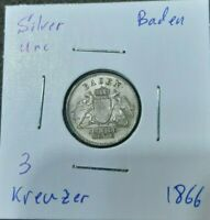 Baden 1866 3 Kreuzer Unc Silver Coin  Germany German State Uncirculated