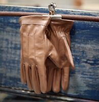 Vintage Leather Gloves 'The Joker' Motorcycle TAN Heavy Duty Top Quality