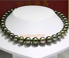 "18"" 10-11MM Tahitian Black Pearl  Necklace AAA+ 0011"