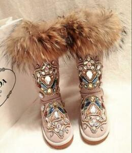 2019 Womens winter warm Fur Mid Calf Thicken Snow Boots Rhinestone Shoes boots