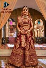 BOLLYWOOD WEDDING WEAR DESIGNER INDIAN ATTRACTIVE LEHENGA CHOLI MAROON ETHNIC