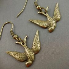 Vintage Cute Gold Bronze Flying Swallows Earrings Kitsch