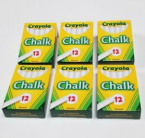 Crayola Chalk WHITE 12 ct. (6 boxes x 12 sticks) Marker Blackboard Markers NEW