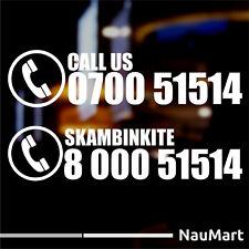 Número de teléfono-llámenos Pegatina. cualquier color y tamaño (ST705)