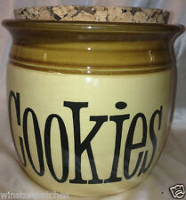 T G GREEN ENGLAND GRANVILLE COOKIES JAR WITH CORK TOP TAN WITH BROWN EDGE