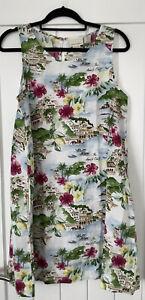 Cynthia Rowley Amalfi Print  100% Linen Dress Tunic With Pockets 10/12/14 BNWT