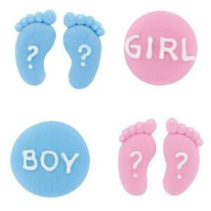 Gender Reveal Sugar Decorations Edible Cake Toppers