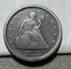 1875 S Twenty Cent Piece Silver US Coin Genuine