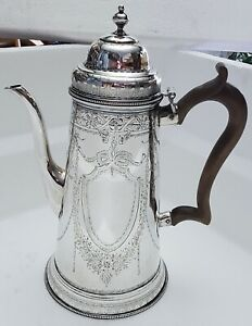 BEAUTIFUL WILLIAM III OR GEORGE I STERLING SILVER COFFEE POT LONDON EARLY 1700'S
