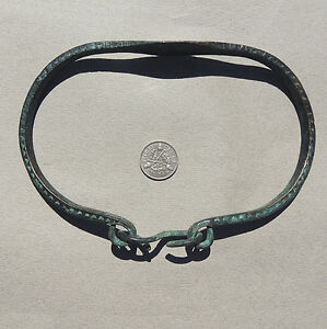 an old decorated copper alloy african bracelet or anklet from nigeria #79
