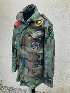 U.S Marines Alpha Industries M65 Camo Hunting Field Jacket With Hunting Patches