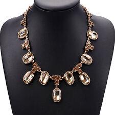 Strass champagner Glamour Design Kette Halskette Collier Gold plattiert neu
