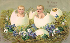 Easter Postcard,Chick & 2 Babies in Eggs,A Happy Easter,Purple Flowers,Used,1908