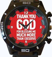Reloj de Pulsera gracias a Dios texto religioso nueva serie de deportes de moda Unisex Regalo
