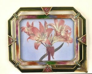 Photo Frame JAY STRONGWATER Designer Ornate Jeweled Enamel Rectangular Picture