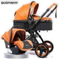 Luxury Baby Stroller 3 In 1 with Car Seat High Landscape PU Pram Newborns