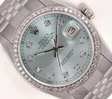 Rolex Mens Datejust 16014 Steel 36mm Watch-Ice Blue Diamond Dial-Diamond Bezel