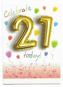 Happy 21st Birthday Greetings Card Balloon Design Age 21 Glossy For Him/Her