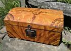 Antique Americana Decorated Dome Lid Document Box Grain Painted Yellow and Brown