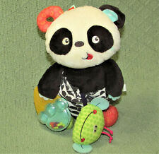 """B TOYS PARTY PANDA BABY ACTIVITY PLUSH CHIME TEXTURES CRINKLES TEETHER 11"""" TOY"""