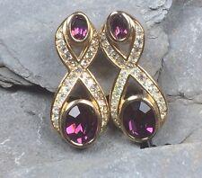 Vintage Christian Dior Amatista y Diamante Pendientes De Estilo