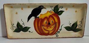 Halloween Wonderland Serving Platter Jack O Lantern Black Crow Leaves Stars Hand